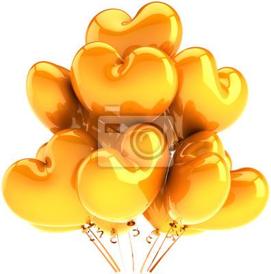 En forma de decoración de verano amarillo naranja Partido globos corazón