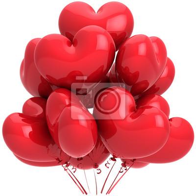 En forma de globos de cumpleaños corazón rojo. Decoración romántica del amor