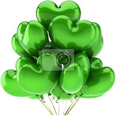 En forma de hermosa decoración del partido Globos de cumpleaños verde corazón