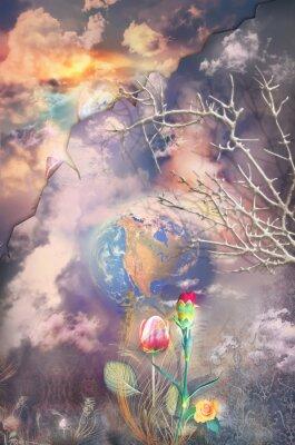 Cuadro Encantado y fantástico paisaje con flores de colores serie