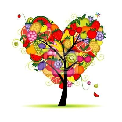 Energía Fruta árbol De Forma De Corazón Para Su Diseño Pinturas Para