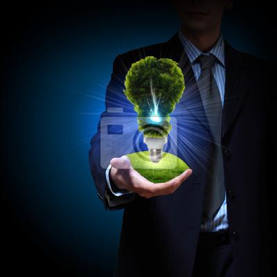energía limpia. bombilla de luz verde