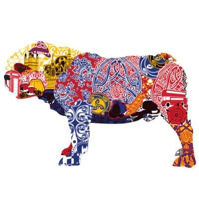 Cuadro English Bulldog in miniatures and patterns symbolizing England