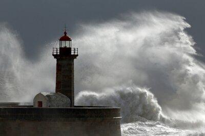 Cuadro Enorme ola sobre el faro