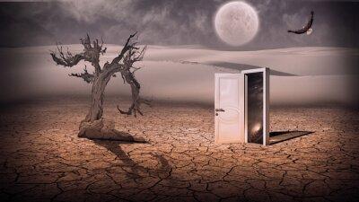 Cuadro Entrada abierta muestra una escena del espacio de alguna manera semitransparente en stran