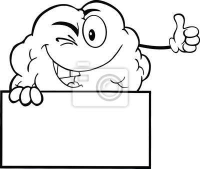 Esbozó guiño cerebro carácter sostiene un pulgar para arriba ...
