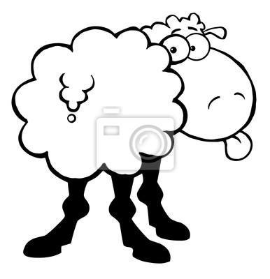 Esbozó ovejas funky sacando la lengua pinturas para la pared ...