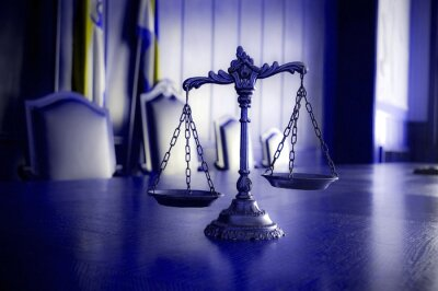 Cuadro Escalas decorativas de la justicia en la sala del tribunal