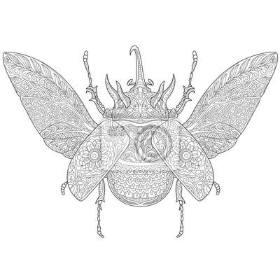 Escarabajo estilizado de zentangle del rinoceronte de la historieta ...