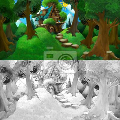 Escena Colorida De Dibujos Animados Con Hermosa Casa De Madera