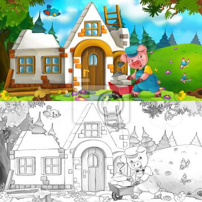Escena de dibujos animados de cerdo de trabajo duro - la ...