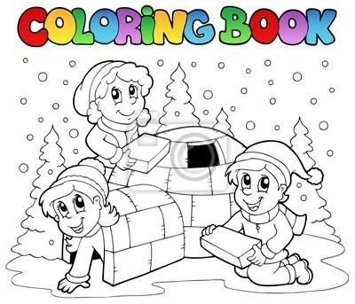 Escena de invierno libro para colorear 1 pinturas para la pared ...