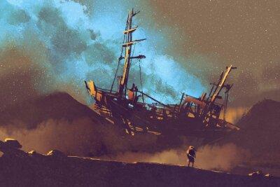 Cuadro Escena de la noche de la nave abandonada en el desierto con el cielo stary, pintura de la ilustración