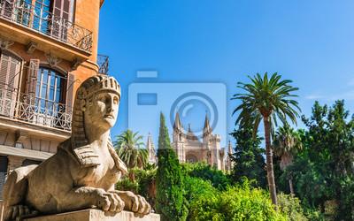 España Mallorca ciudad vieja con vista a la Catedral