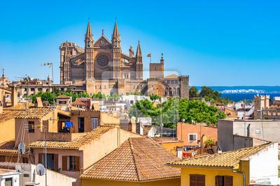 España Palma de Mallorca paisaje con vista de la Catedral La Seu