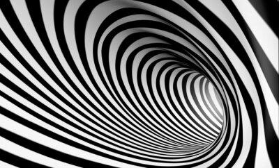 Cuadro Espiral Fondo blanco y negro en 3d abstracta