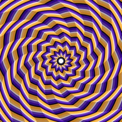 Cuadro Espiralado facetado girando al centro. Fondo abstracto de la ilusión óptica del vector.