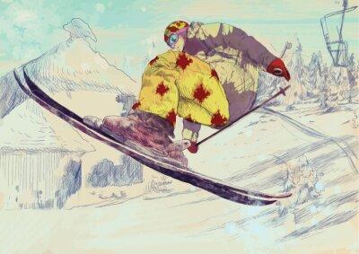 Cuadro Esquiador de estilo libre, truco (esto se convierte en dibujo vectorial)