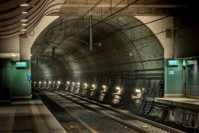 Cuadro estación de ferrocarril y túnel