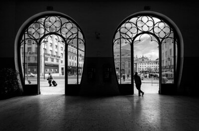 Cuadro Estación de tren de Rossio. Antigua ciudad de lisboa. Portugal.