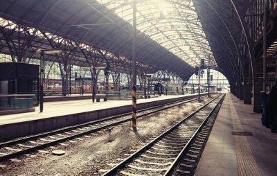 Cuadro Estación de tren principal en Praga, República Checa.