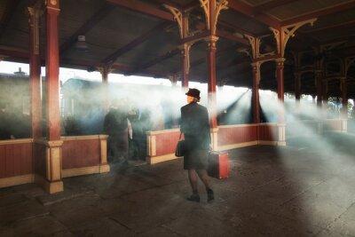 Cuadro estación de tren retro y humo de tren