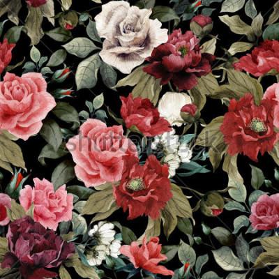 Cuadro Estampado de flores específicas con las rosas rosadas y las peonías en el fondo oscuro, acuarela