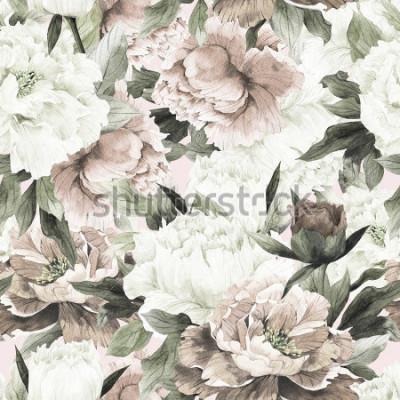 Cuadro Estampado de flores inconsútil con las rosas en el fondo ligero, acuarela.