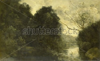 Cuadro Estanque en el bosque, por Camille Corot, 1840-75, pintura francesa, óleo sobre tabla.