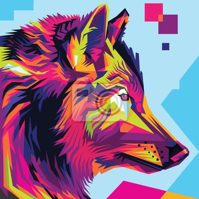 Cuadro Estilo de la ilustración del arte pop de la cabeza del lobo