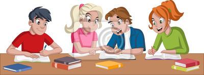 Estudiantes De Dibujos Animados Adolescente Con Libros Ninos