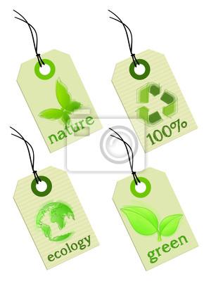 Cuadro Etiqueta de Ecología - energía verde