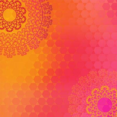 Cuadro Étnico y colorido diseño de la alheña Mandala, muy elaborado y fácilmente editable