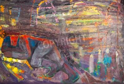 Cuadro Etnografía, M.Sh. Khaziev. Artista Honorario de Tatarstán. El cuadro pintado en aceites. Hombre durmiente