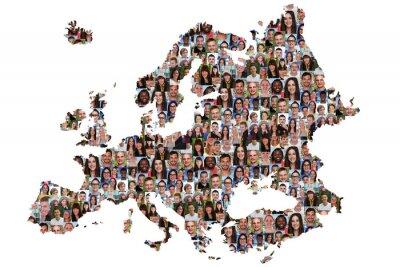 Cuadro Europa Karte Menschen junge Leute Gruppe Integration multikultur
