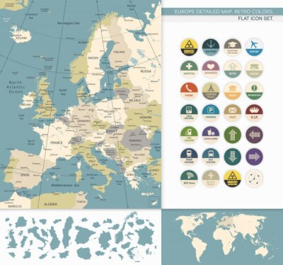 Cuadro Europa map.Retro detallada Colores