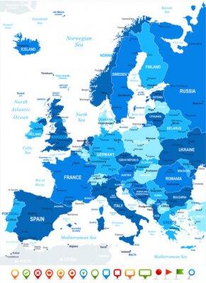 Cuadro Europa mapa - altamente detallada ilustración vectorial. Imagen contiene contornos terrestres, nombres país y terrestres, nombres ciudad, nombres objeto agua iconos navegación.