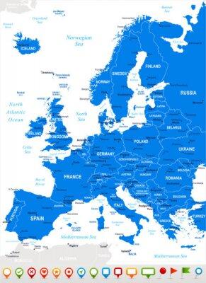 Cuadro Europa - mapa y la navegación icons.Highly vectorial detallada illustration.Image contiene próximos capas: contornos terrestres, nombres de países y de la tierra, los nombres de ciudades, nombres de o
