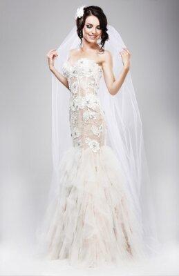 Cuadro Expectativa. Hermosa Jubilant Novia en vestido de novia blanco