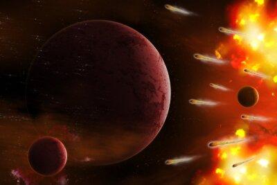 Cuadro Explosión de espacio / Explosión de espacio con planeta de ataque cometa. Retoque digital.