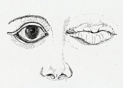 Cuadro Face, art metaphor, pen and ink drawing on paper texture