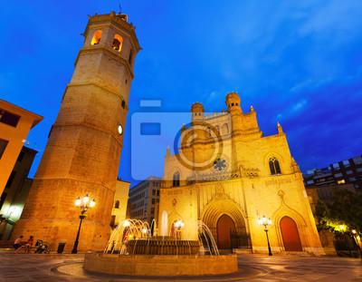 Fadrí torre y la catedral gótica en la noche