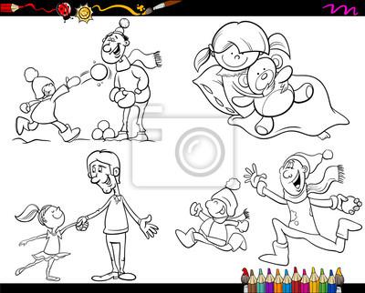 Familia conjunto de páginas para colorear de dibujos animados ...