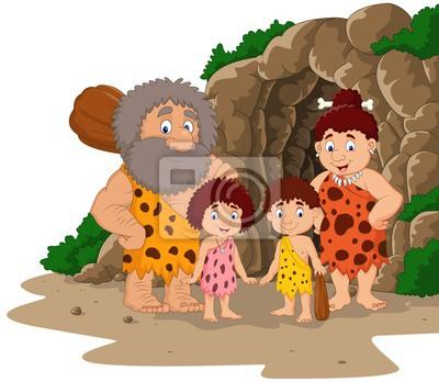 Familia De Hombre De Las Cavernas De Dibujos Animados Con