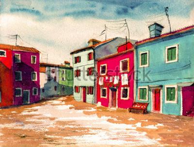 Cuadro Famosa isla italiana de Venecia de color brillante casas acuarela pintura ilustración cartel dibujado a mano ilustraciones textil patrón lienzo de fondo