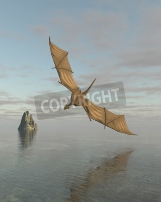 Cuadro Fantasía ilustración de un dragón volando bajo sobre un océano tranquilo a la luz del día, 3d digitalmente prestados ilustración