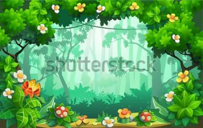 Cuadro Fantástico bosque de flores, fabulosa jungla, trópicos. Vector de fondo.