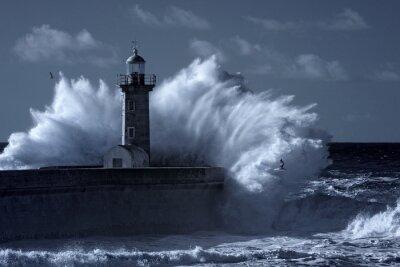 Cuadro Faro tempestuoso infrarrojo