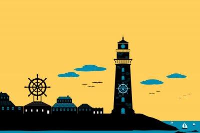 Cuadro Faro y ciudad silueta vector paisaje