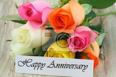 feliz aniversario nota con rosas de colores pinturas para la pared